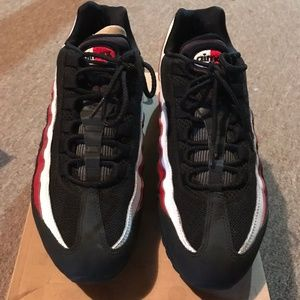 fd79ac54db1 ... Nike Air Max 95 Black White Red Running Sz 10.5